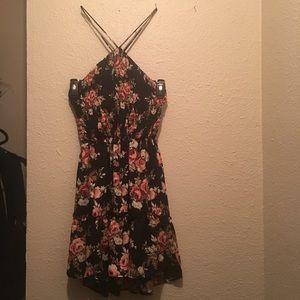 Macy's black floral backless dress